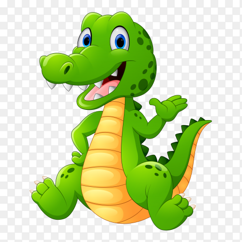 Green crocodile standing on transparent background PNG
