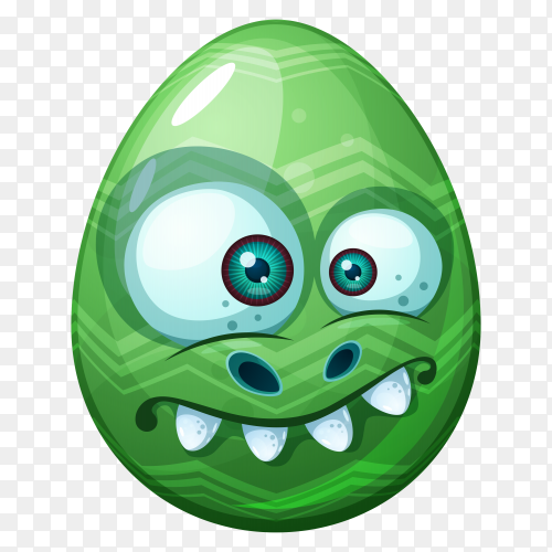 Green egg with angry face Premium vector PNG