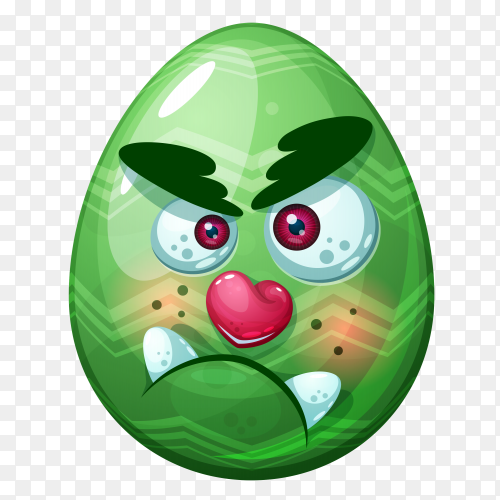 Green egg with angry face on transparent background PNG