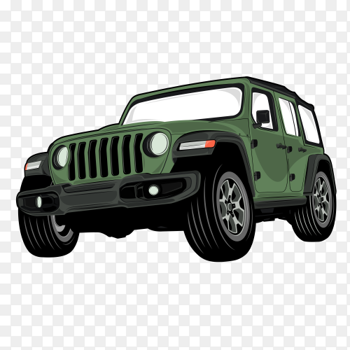 Green jeeb car on transparent background PNG