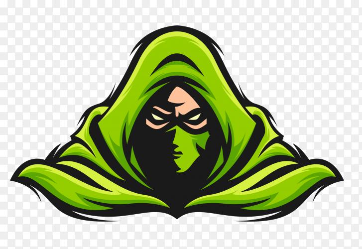 Green masked assasin on transparent background PNG