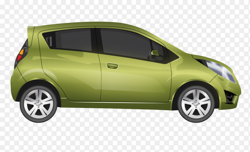 Green modern car on transparent background PNG