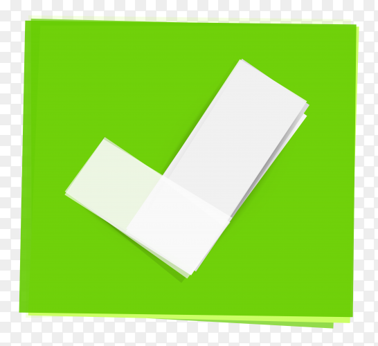 Green right check mark icon on transparent background PNG