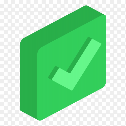 Green right mark icon clipart PNG
