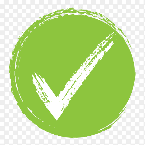 Green right mark in circle on transparent PNG