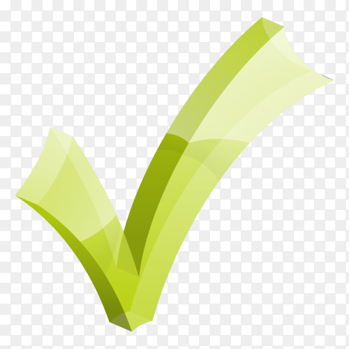Green right mark on transparent background PNG