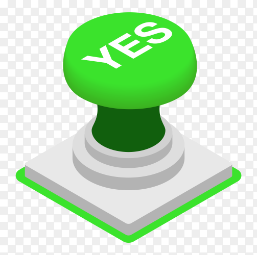 Green yes button on transparent background PNG