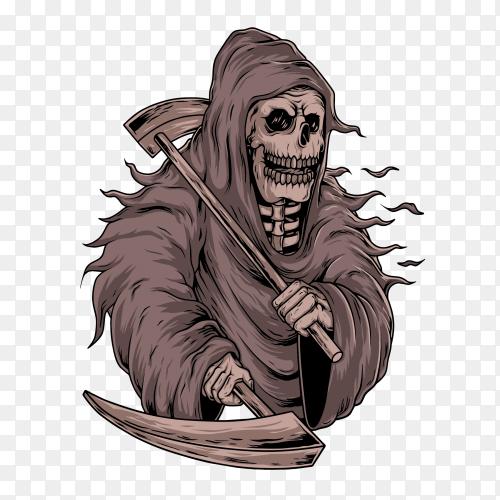 Grim Reaper skull on transparent background PNG