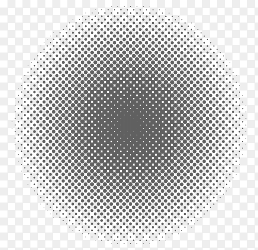 Halftone circle design on transparent background PNG