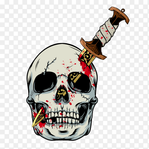 Halloween skull illustration on transparent background PNG