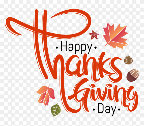 Hand Lettering Happy Thanks giving Day clipart PNG