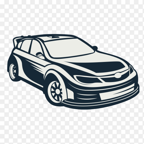 Hand drawing car on transparent background PNG