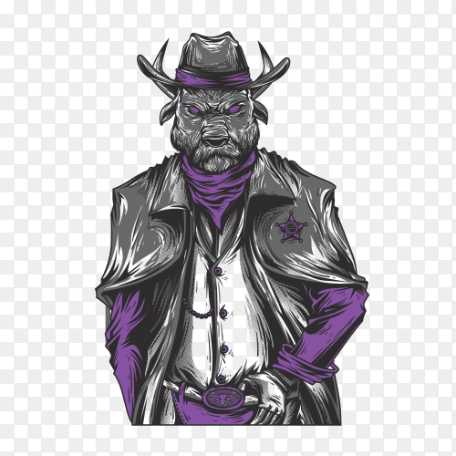 Hand drawing cowboy warrior on transparent background PNG