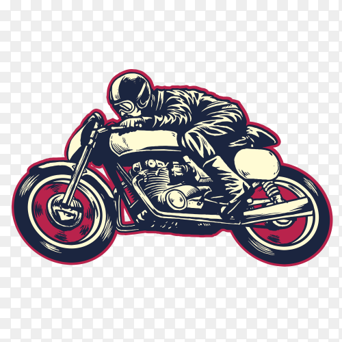 Hand drawing of a man riding classic racer motorcycle on transparent background PNG