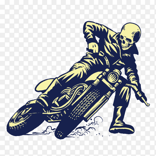 Hand drawing of skull riding vintage motorcycle on transparent background PNG