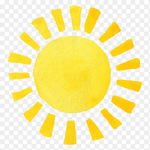 Hand drawing yellow sun clipart PNG