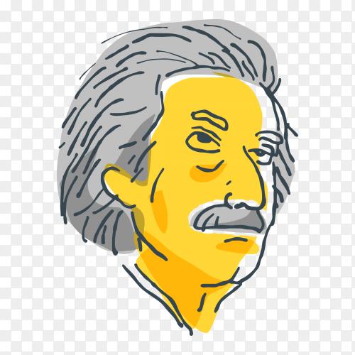 Hand drawn Albert einstein on transparent background PNG