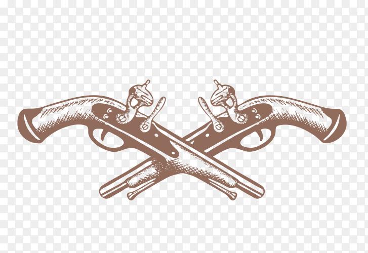 Hand drawn crossed guns illustration Premium Vector PNG