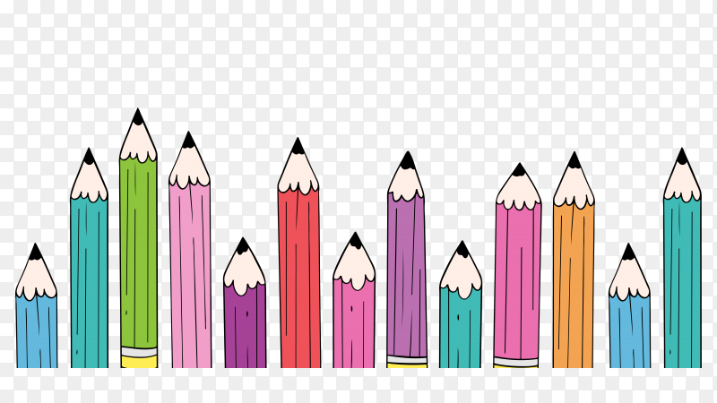 Hand drawn back to school background with pencils on transparent background PNG