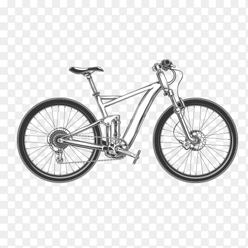 Hand drawn bicycle on transparent background PNG