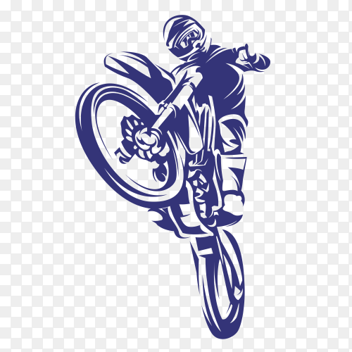 Hand drawn blue motorcycle on transparent background PNG