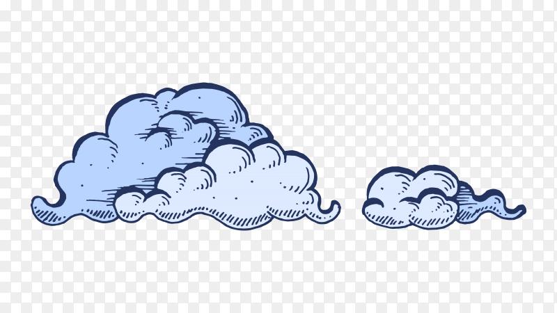 Hand drawn cartoon cloud premium vector PNG