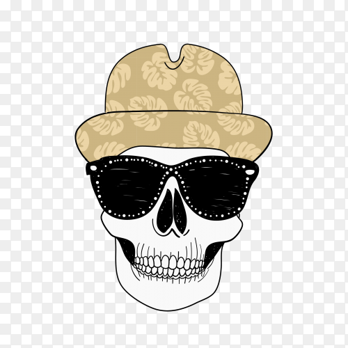Hand drawn cool skull head design on transparent background PNG