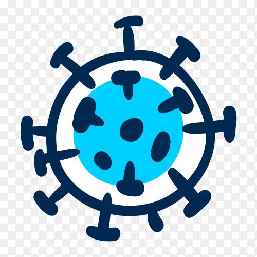 Hand drawn coronavirus design on transparent background PNG