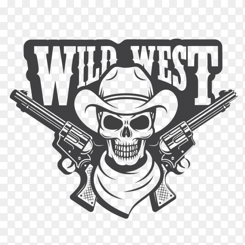 Hand drawn cowboy skull illustration premium vector PNG