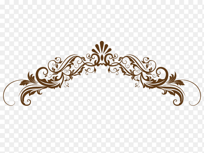 Hand drawn decorative floral on transparent background PNG