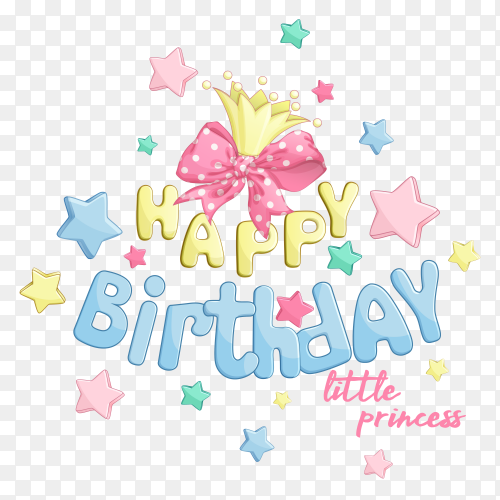 Hand drawn happy birthday lettering on transparent background PNG