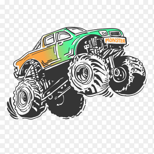 Hand drawn monster car premium vector PNG