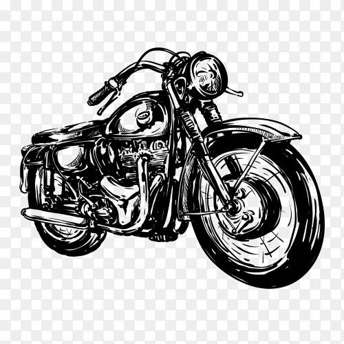 Hand drawn motorcycle poster on transparent background PNG