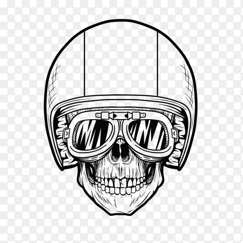 Hand drawn skull with helmet and glasses on transparent background PNG