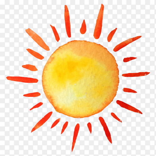 Hand drawn sun vector PNG
