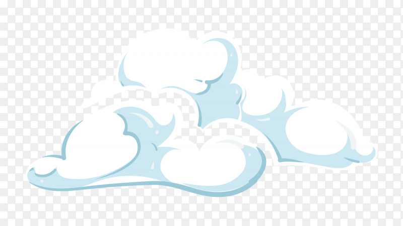 Hand drawn white clouds premium vector PNG