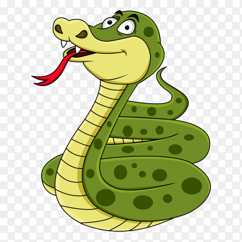 Hand painted cartoon snake on transparent background PNG