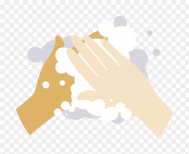 Hand washing on transparent background PNG