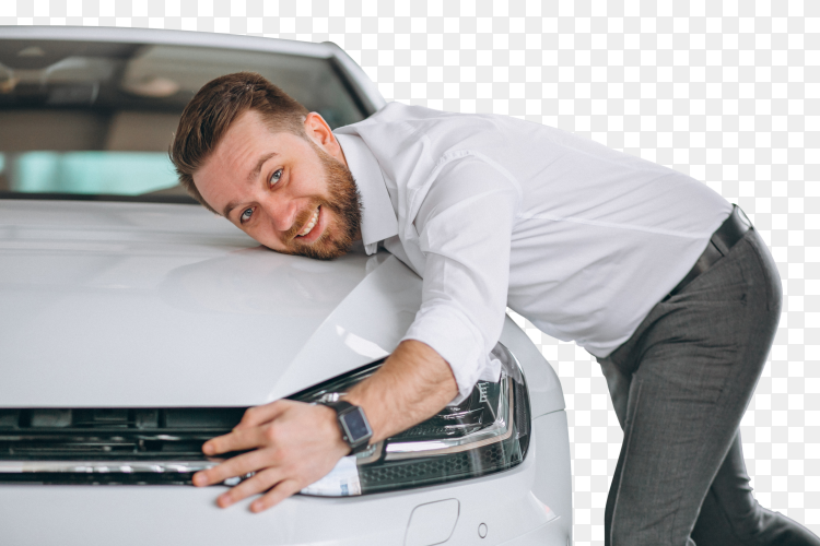 Handsome man hugging a car on transparent background PNG