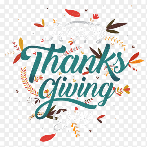 Happy Thanks giving typography Premium vector PNG