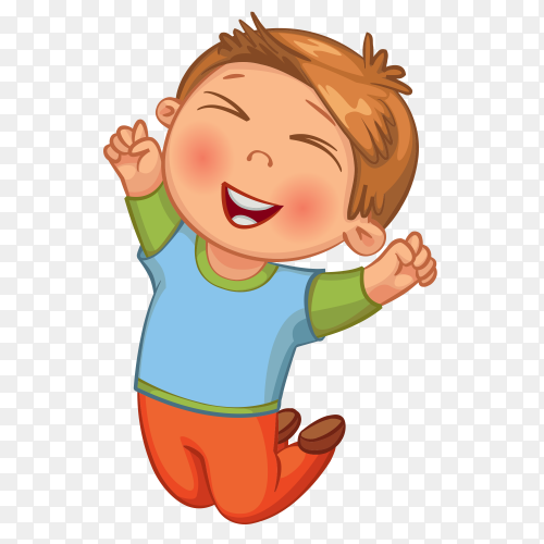Happy boy jumbed on transparent background PNG