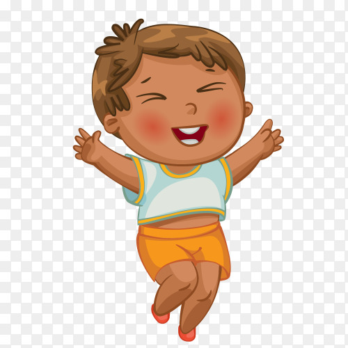 Happy boy on transparent background PNG
