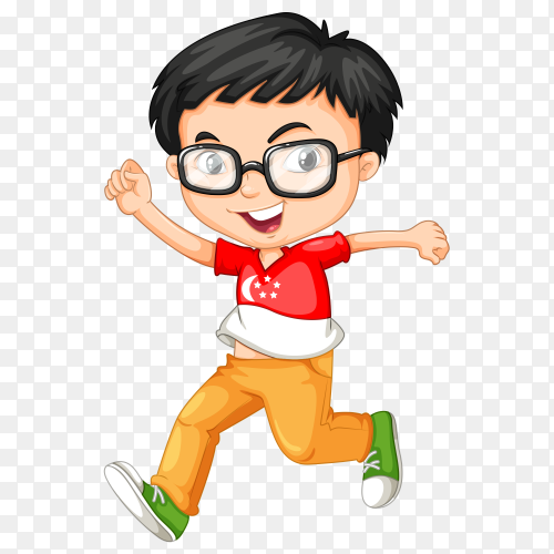 Happy boy running Premium vector PNG