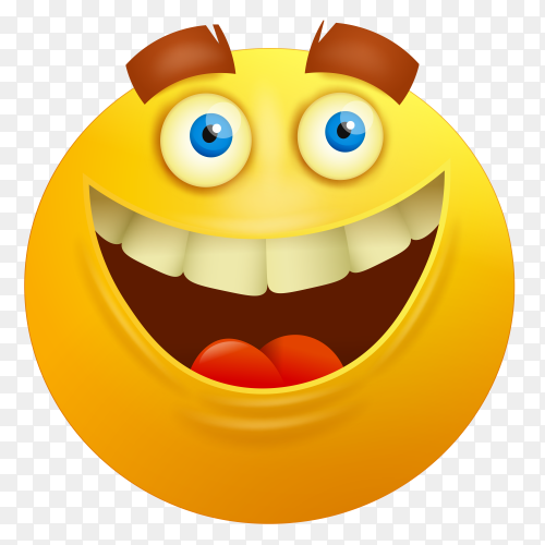 Happy cartoon emoji on transparent background PNG