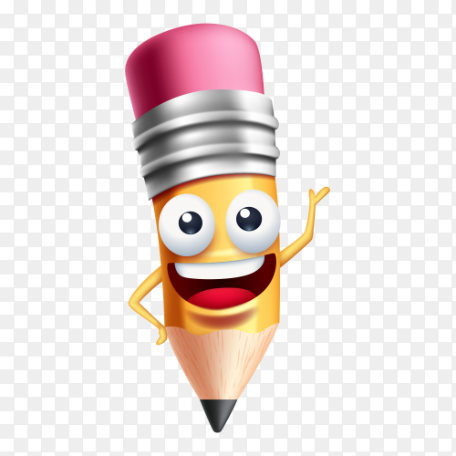 Happy cartoon pencil on transparent background PNG
