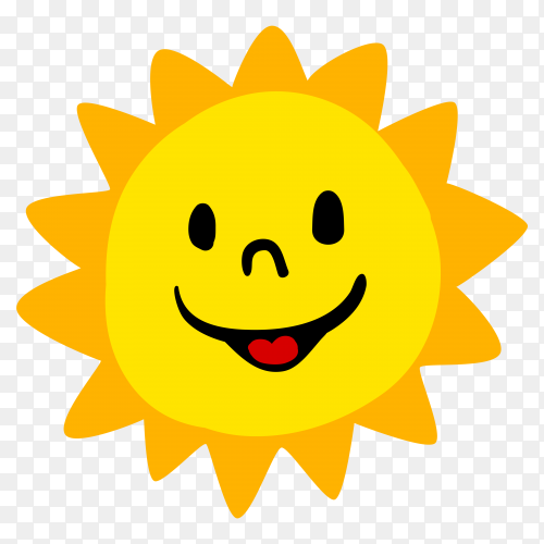 Happy cartoon sun premium vector PNG