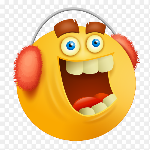 Happy emoji face with in red Headphone on transparent background PNG