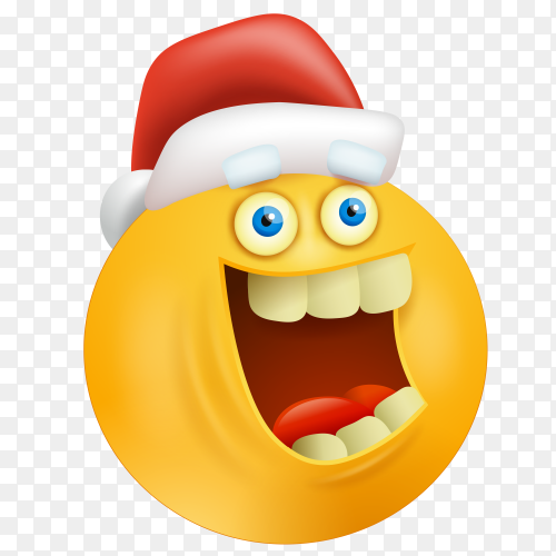 Happy emoji face with santa claus hat Premium vector PNG