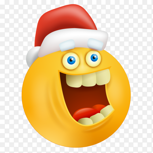 Happy emoji face with santa claus hat on transparent background PNG
