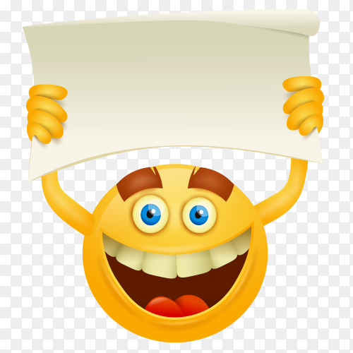 Happy face emoji with placard Premium vector PNG